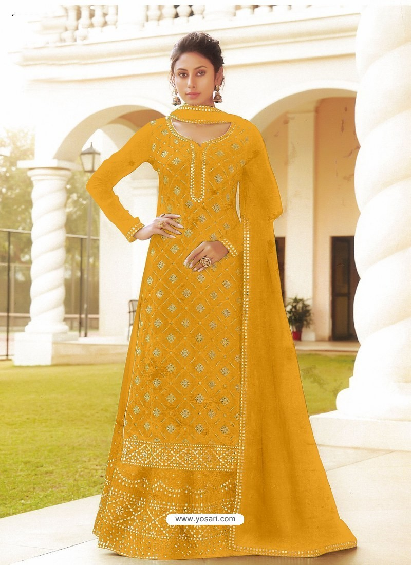 Yellow Chinon Designer Party Wear Wedding Suit