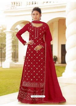 Tomato Red Chinon Designer Party Wear Wedding Suit