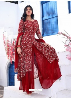 Tomato Red Readymade Designer Party Wear Wedding Suit