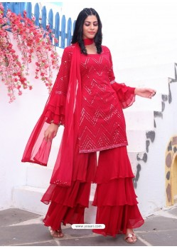 Red Readymade Designer Party Wear Wedding Suit