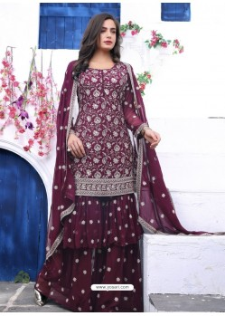 Deep Wine Readymade Designer Party Wear Wedding Suit