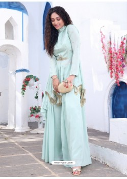 Sky Blue Readymade Designer Party Wear Wedding Suit