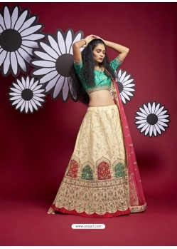 Cream Heavy Designer Wedding Wear Lehenga Choli