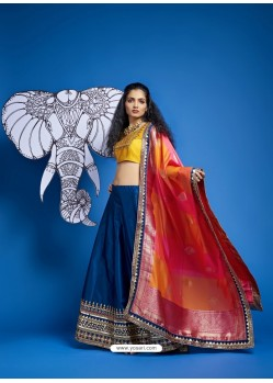 Teal Blue Heavy Designer Wedding Wear Lehenga Choli