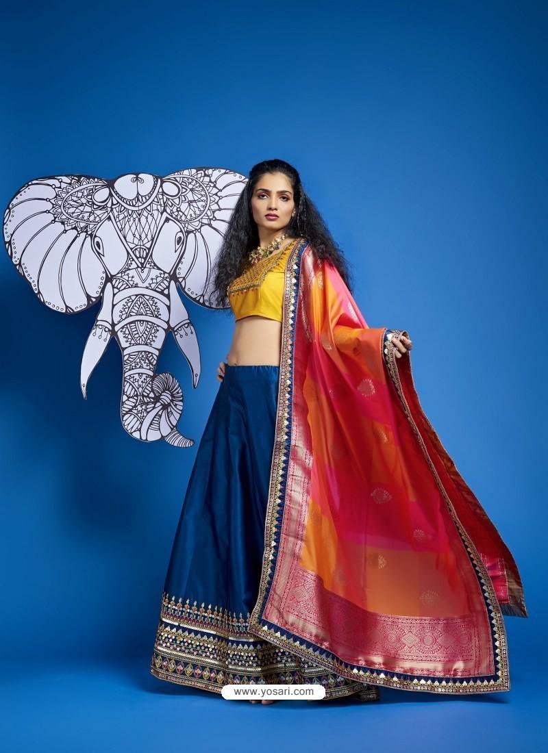 Teal Blue Heavy Designer Wedding Wear Lehenga Choli