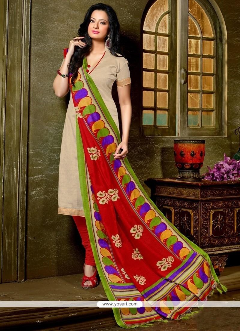 Prominent Lace Work Beige Banglori Silk Churidar Designer Suit