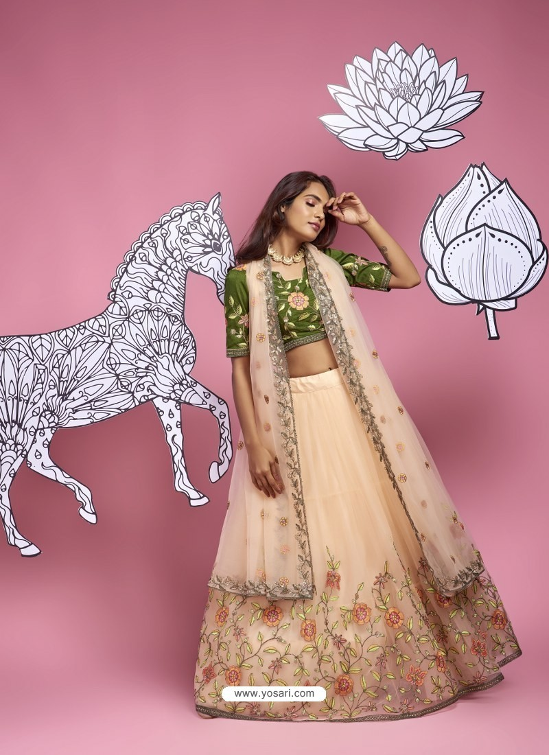Cream Heavy Designer Wedding Wear Lehenga Choli