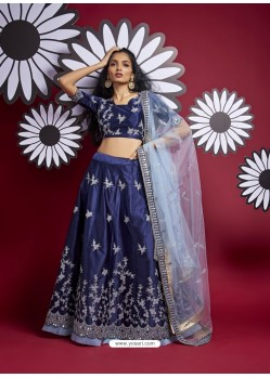 Navy Blue Heavy Designer Wedding Wear Lehenga Choli