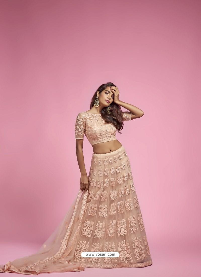Light Beige Heavy Designer Wedding Wear Lehenga Choli