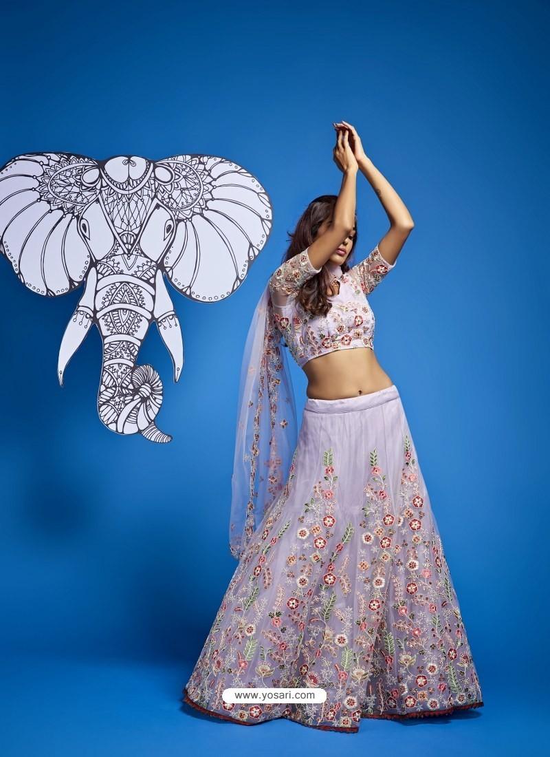 Light Grey Heavy Designer Wedding Wear Lehenga Choli