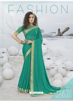 Aqua Mint Designer Party Wear Lycra Sari