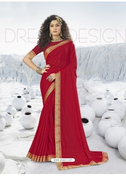 Red Designer Party Wear Lycra Sari