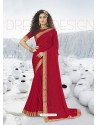 Red Designer Party Wear Lycra Sari