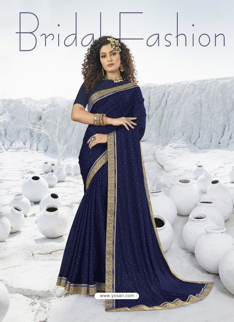 Navy Blue Designer Party Wear Lycra Sari