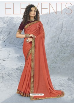 Rust Designer Party Wear Lycra Sari
