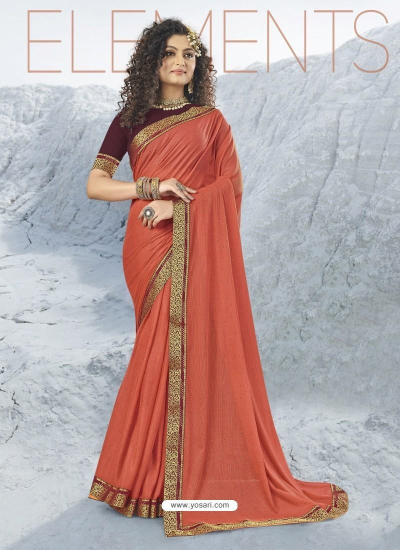 Rust Designer Party Wear Lycra Sari