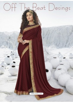 Maroon Designer Party Wear Lycra Sari
