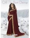 Maroon Designer Party Wear Lycra Sari
