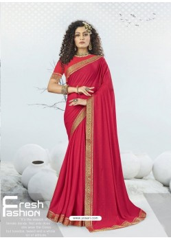 Rose Red Designer Party Wear Lycra Sari
