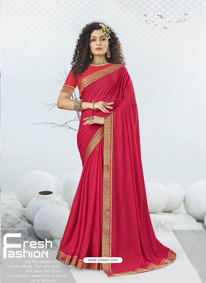 Rose Red Designer Party Wear Lycra Sari