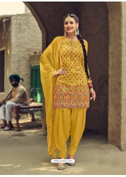 Yellow Designer Party Wear Faux Georgette Punjabi Patiala Suit