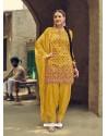 Yellow Designer Party Wear Faux Georgette Punjabi Patiala Suit