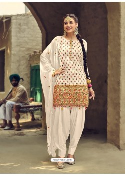 White Designer Party Wear Faux Georgette Punjabi Patiala Suit