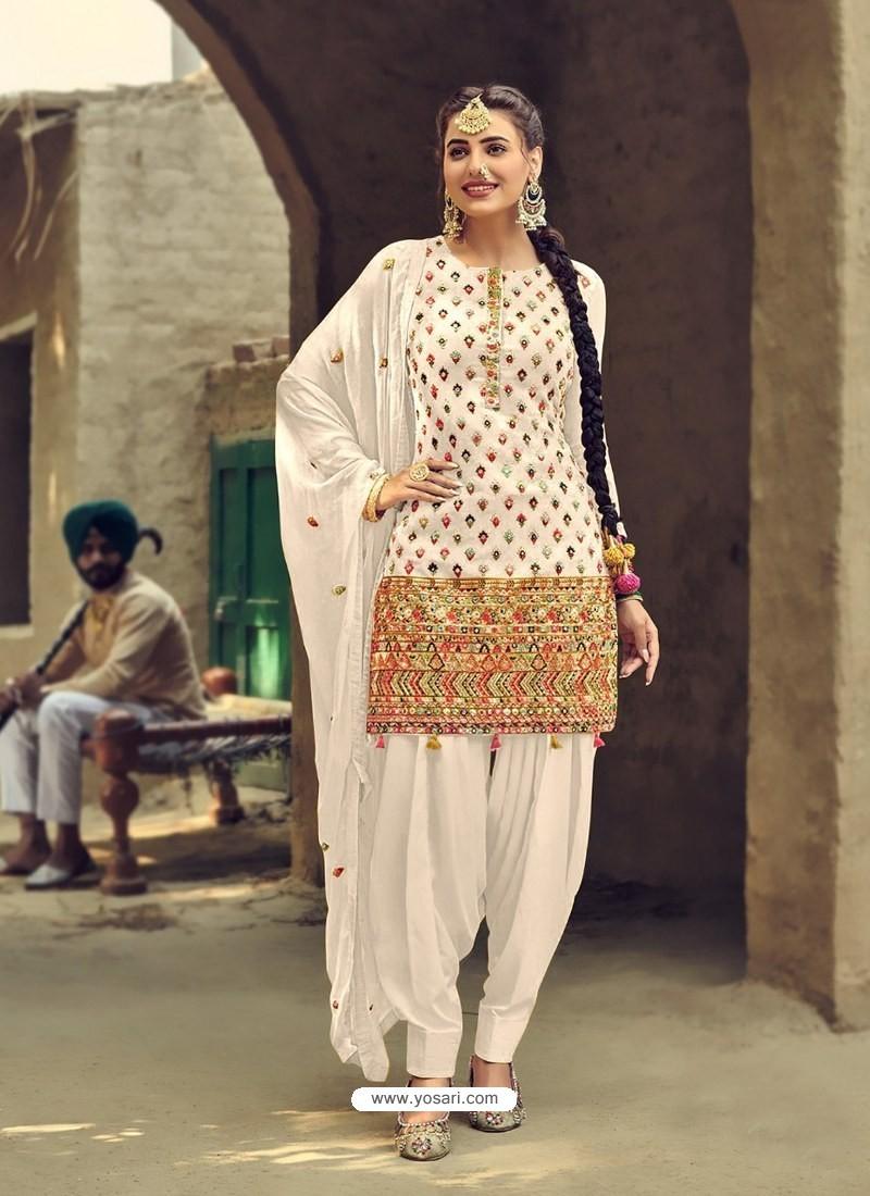 White Designer Party Wear Faux Georgette Punjabi Patiala Suit