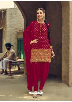 Rose Red Designer Party Wear Faux Georgette Punjabi Patiala Suit
