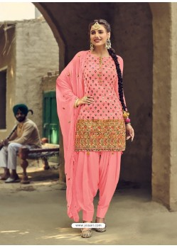 Peach Designer Party Wear Faux Georgette Punjabi Patiala Suit