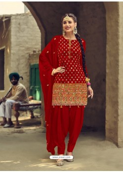 Tomato Red Designer Party Wear Faux Georgette Punjabi Patiala Suit