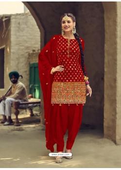 Tomato Red Designer Party Wear Faux Georgette Punjabi Patiala Suit