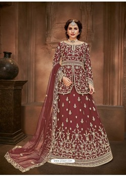 Maroon Heavy Designer Wedding Wear Lehenga Choli