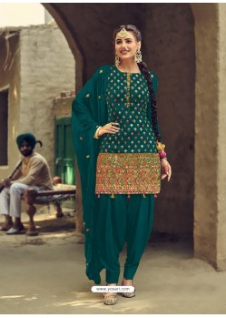 Teal Designer Party Wear Faux Georgette Punjabi Patiala Suit