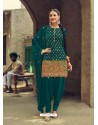 Teal Designer Party Wear Faux Georgette Punjabi Patiala Suit