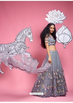 Grey Heavy Designer Wedding Wear Lehenga Choli