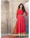 Graceful Cutdana Work Red Pure Crepe Anarkali Suit