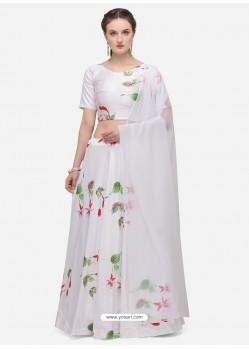 White Heavy Designer Party Wear Lehenga Choli