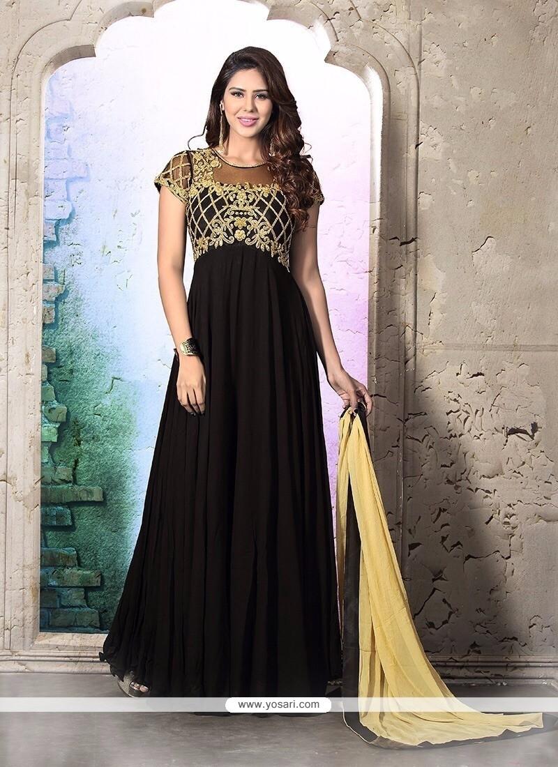 Genius Georgette Black Anarkali Salwar Suit