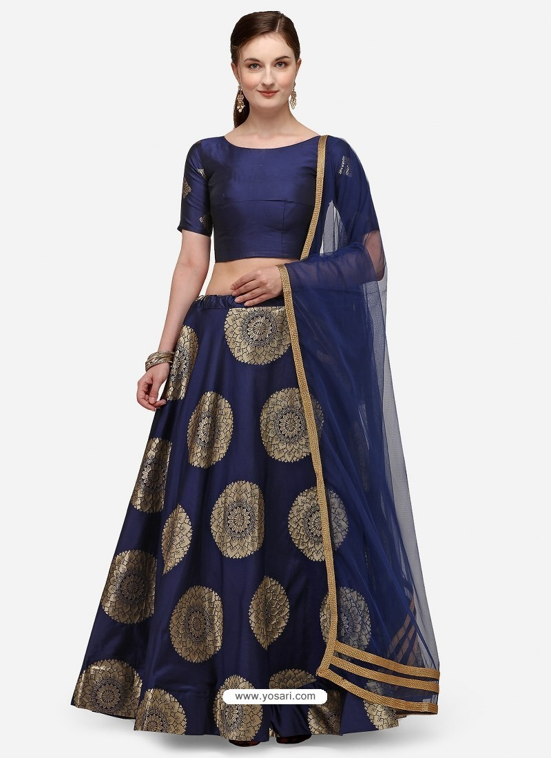 Navy Blue Heavy Designer Party Wear Lehenga Choli