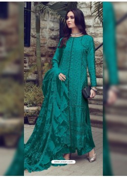 Teal Designer Party Wear Glaze Cotton Salwar Suit