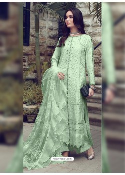 Pista Green Designer Party Wear Glaze Cotton Salwar Suit