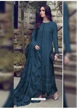 Navy Blue Designer Party Wear Glaze Cotton Salwar Suit