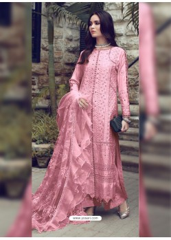 Pink Designer Party Wear Glaze Cotton Salwar Suit