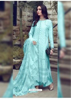 Sky Blue Designer Party Wear Glaze Cotton Salwar Suit