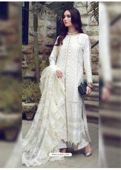 White Designer Party Wear Glaze Cotton Salwar Suit