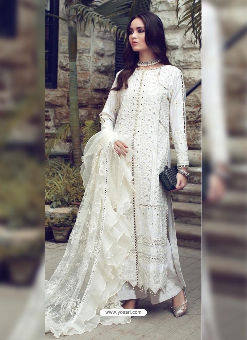 White Designer Party Wear Glaze Cotton Salwar Suit