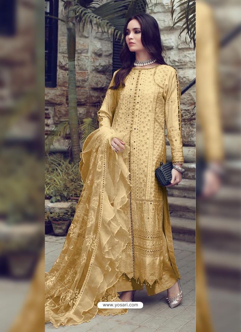 Light Yellow Designer Party Wear Glaze Cotton Salwar Suit