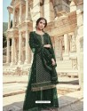 Dark Green Faux Georgette Designer Party Wear Palazzo Salwar Suit