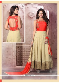 Transcendent Zari Work Georgette Red Anarkali Salwar Suit